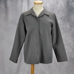 Eileen Fisher Quilted Button Up Pockets Jacket